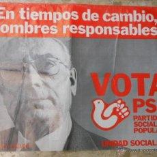 Carteles Políticos: 1977 CARTEL DE TIERNO GALVAN PSP PARTIDO SOCIALISTA POPULAR POLITICA. Lote 52660020