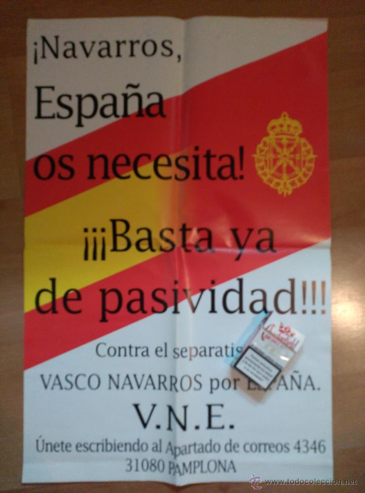 BONITO CARTEL VASCO NAVARROS POR ESPAÑA. FALANGE. CARLISMO (Coleccionismo - Carteles gran Formato - Carteles Políticos)