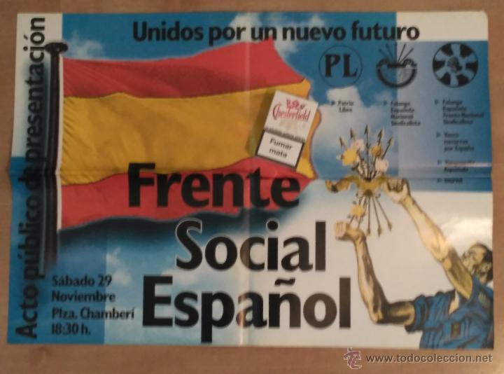 CARTEL FRENTE SOCIAL ESPAÑOL, UNIÓN DE GRUPOS FALANGISTAS. FALANGE. (Coleccionismo - Carteles gran Formato - Carteles Políticos)