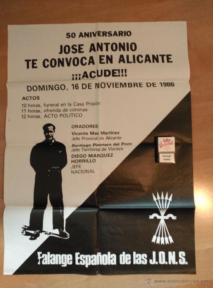 CARTEL 50 ANIVERSARIO MUERTE DE JOSE ANTONIO. FALANGE 1986. (Coleccionismo - Carteles gran Formato - Carteles Políticos)