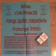 Carteles Políticos: CARTEL FALANGE 2000 FEI. Lote 53223712