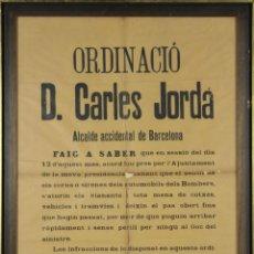 Carteles Políticos: I3-033. BANDO MUNICIPAL DEL ALCALDE DE BARCELONA CARLES JORDA. 30 JULIO DE 1920.. Lote 55076834