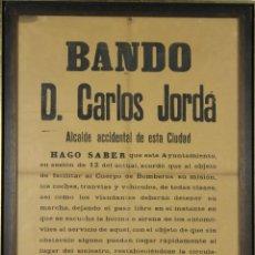 Carteles Políticos: I3-034. BANDO MUNICIPAL DEL ALCALDE DE BARCELONA CARLES JORDA. JULIO DE 1920. . Lote 55077059