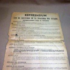 Carteles Políticos: CARTEL POLITICO, REFERENDUM, LEY SUCESION EN LA JEFATURA DEL ESTADO, INSTRUCCIONES, 1947. Lote 55624084