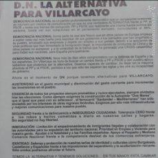 Carteles Políticos: OCTAVILLA CANDIDATURA DEMOCRACIA NACIONAL AYUNTAMIENTO VILLARCAYO BURGOS . Lote 55684008