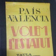 Carteles Políticos: CARTEL POLITICO AÑOS 70/80 PAIS VALENCIA VOLEM L'ESTATUT. Lote 57582944