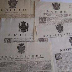 Carteles Políticos: FLORENCIA ITALIA * 1725 A 1773 SEIS ANTIGUOS CARTELES DE BANDOS EDICTOS NOTIFICACIONES APROX 45 CM. Lote 58131573