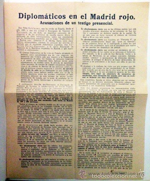 DIPLOMÁTICOS EN EL MADRID ROJO (CIRCA 1937) HOJA VOLANDERA EDITADA EN LA ALEMANIA NAZI CONTRA LA REP (Coleccionismo - Carteles gran Formato - Carteles Políticos)