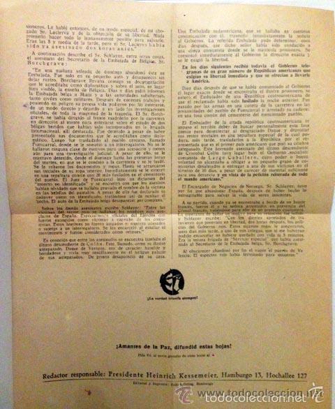 Carteles Políticos: Diplomáticos en el Madrid rojo (circa 1937) Hoja volandera editada en la Alemania nazi contra la Rep - Foto 2 - 60064751