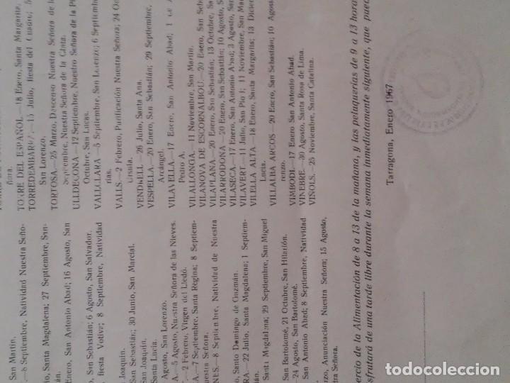 Carteles Políticos: PROVINCIA DE TARRAGONA - 1967 - SINDICATOS - FIESTAS LOCALES ACEPTADAS EN LAS LOCALIDADES - INTERESA - Foto 2 - 61915424
