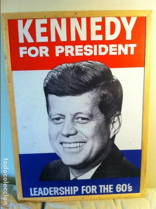 1960 JOHN F. KENNEDY EEUU PRESIDENT CAMPAIGN CARDBOARD SIGN. ORIGINAL / CARTEL ORIGINAL JFK POLÍTICA (Coleccionismo - Carteles gran Formato - Carteles Políticos)