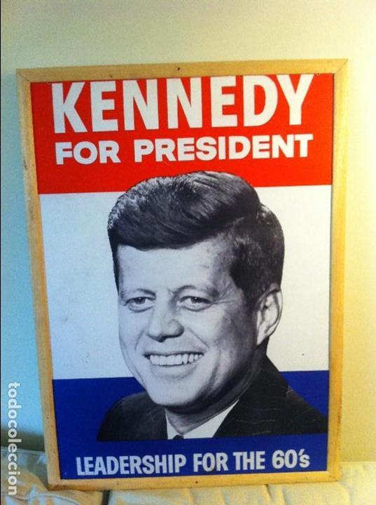 Carteles Políticos: 1960 John F. Kennedy EEUU President Campaign Cardboard Sign. Original / Cartel Original JFK Política - Foto 2 - 68291649