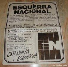 Carteles Políticos: (TC-12) CARTEL POLITICO ESQUERRA NACIONAL ORIGINAL AÑOS 70. Lote 68311657