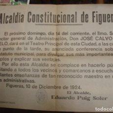 Affissi Politici: ALCALDÍA CONSTITUCIONAL DE FIGUERAS 1924 CARTELL - PORTAL DEL COL·LECCIONISTA *****. Lote 72012687