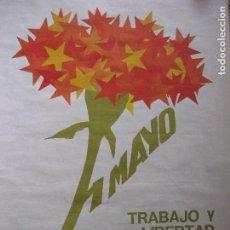 Carteles Políticos: CARTEL CCOO PRIMERO DE MAYO, TRABAJO Y LIBERTAD (SIN FECHA, CIRCA 1980) - GRAN FORMATO 70 X 49 CM. Lote 73756779