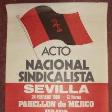 Carteles Políticos: CARTEL. ACTO NACIONAL SINDICALISTA. ¡TE ESPERAMOS F.E. DE LAS J.O.N.S!. 66,8 X 44,5 CM.. Lote 85371424