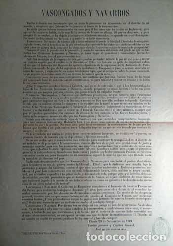 RARISIMA PROCLAMA DIRIGIDA A VASCOS Y NAVARROS POR JOSE DE ALLENDESALAZAR VITORIA 1869 CARLISMO (Coleccionismo - Carteles gran Formato - Carteles Políticos)