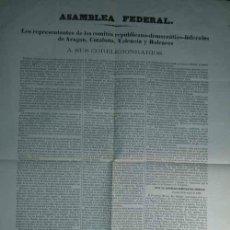 Carteles Políticos: RARISIMO CARTEL DEL PACTO FEDERAL DE TORTOSA 1869 ARAGON CATALUÑA VALENCIA BALEARES. Lote 91202190
