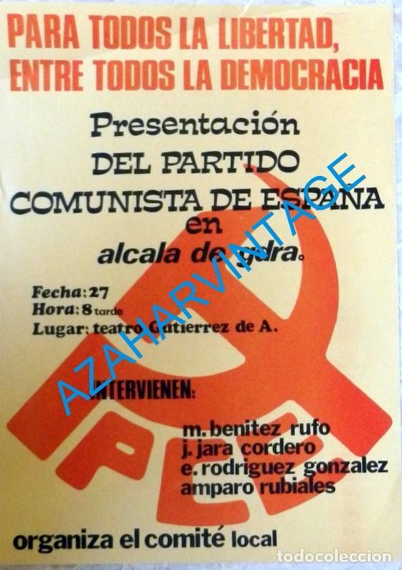 ALCALA DE GUADAIRA, SEVILLA, 1977,CARTEL PRESENTACION PARTIDO COMUNISTA, PCE, RARISIMO,32X44 CMS (Coleccionismo - Carteles gran Formato - Carteles Políticos)
