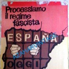 Carteles Políticos: CARTEL ORIGINAL AÑOS 70, DICTADURA, SOLIDARIDAD CON TRABAJADORES ENCARCELADOS,48X63., EN ITALIANO. Lote 95616091