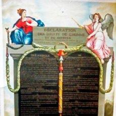 Carteles Políticos: BONITA LITOGRAFIA DE - LA DECLARACION DE LOS DERECHOS HUMANOS Y CIUDADANOS - DE 1789 POR FRANCIA. Lote 125474946