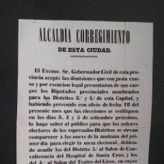 Carteles Políticos: BANDO ELECCIONES DIPUTADOS SALON CONVALECENCIA DEL HOSPITAL DE STA CRUZ EN EL SALON TEATRO LICEO . Lote 113155383