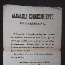 Carteles Políticos: BANDO ELECCIONES DE CONCEJALES ALCALDIA CORREGIMIENTO DE BARCELONA JOSE SANTA MARIA AÑO 1858. Lote 113156603