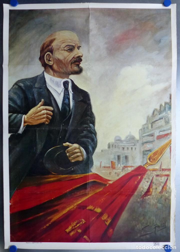 CARTEL DEL LIDER DE LA REVOLUCION RUSA VLADIMIR LENIN - AÑO 1977 - ILUSTRADO POR S. PALLAS (Coleccionismo - Carteles gran Formato - Carteles Políticos)