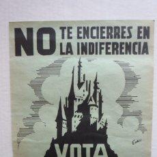 Carteles Políticos: CARTEL QUE SE IMPRIMIÓ EN ALICANTE PARA LAS ELECCIONES MUNICIPALES DE 1968.... Lote 116971183