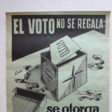 Carteles Políticos: CARTEL QUE SE IMPRIMIÓ EN ALICANTE PARA LAS ELECCIONES MUNICIPALES DE 1968.... Lote 116971299