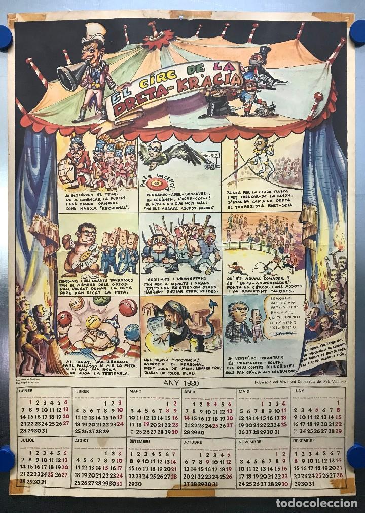 EL CIRC CIRCO DE LA DETRA-KRACIA - CARTEL CALENDARIO AÑO 1980 (Coleccionismo - Carteles gran Formato - Carteles Políticos)