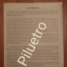 Carteles Políticos: MAURA, JUVENTUD MAURISTA CASTELLANA, MANIFIESTO 1913.. Lote 122722323
