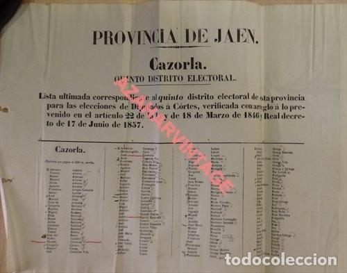 Carteles Políticos: JAEN, 1858, CARTEL ELECTORAL DIPUTADOS A CORTES DISTRITO DE CAZORLA, 120X31 CMS, UNA JOYA - Foto 2 - 123118395