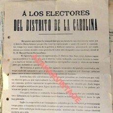 Carteles Políticos: LINARES, JAEN, 1899, RARISIMO CARTEL POLITICO, EL VIZCON DE IRUESTE PIDIENDO EL VOTO A LOS ELECTORE. Lote 125313683