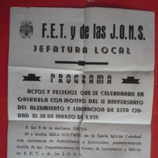 Carteles Políticos: ORIHUELA(ALICANTE). 1941. F.E.T Y DE LAS J.O.N.S. JEFATURA LOCAL. CELEBRACIÓN DEL II ANIVERSARIO. Lote 132829710