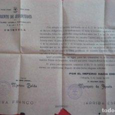 Carteles Políticos: ORIHUELA(ALICANTE). 1941. FRENTE DE JUVENTUDES DE F.E.T. Y DE LAS J.O.N.S. ENCUADRAMIENTO.......... Lote 132831306