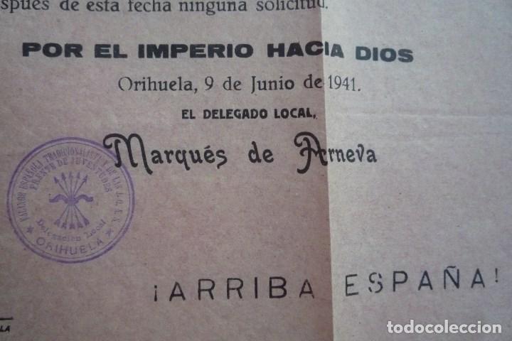 Carteles Políticos: ORIHUELA(ALICANTE). 1941. FRENTE DE JUVENTUDES DE F.E.T. Y DE LAS J.O.N.S. ENCUADRAMIENTO......... - Foto 3 - 132831306
