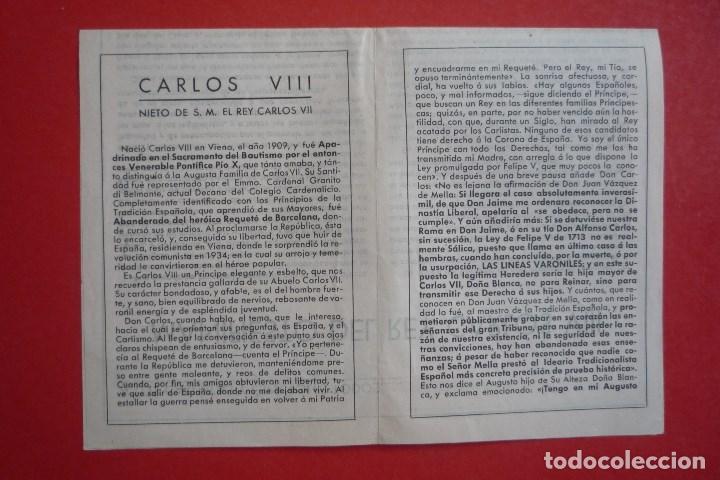 Carteles Políticos: REQUETÉS-CARLISMO. 1943. MANIFIESTO DE CARLOS VIII, NIETO DE CARLOS VII - Foto 3 - 132835070