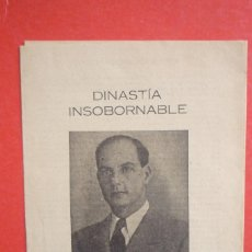Carteles Políticos: REQUETÉS-CARLISMO. 1943. MANIFIESTO DE CARLOS VIII, DINASTIA INSOBORNABLE. IDEAL DE AFIRMACIONES Y... Lote 132835802