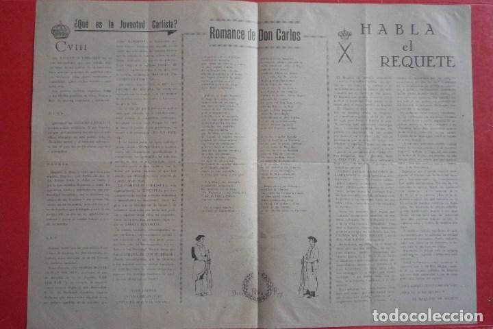 Carteles Políticos: REQUETÉS-CARLISMO. 1940. ¡¡10 DE MARZO!!. DIFERENTES MANIFIESTOS. ¿QUÉ ES LA JUVENTUD CARLISTA?. - Foto 3 - 132836886