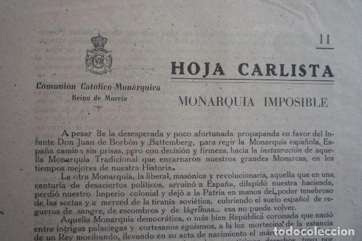 REQUETÉS-CARLISMO. HOJA CARLISTA II. EDITA COMUNIÓN CATÓLICO-MONÁRQUICA DEL REINO DE MURCIA. ...... (Coleccionismo - Carteles gran Formato - Carteles Políticos)