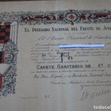 Carteles Políticos: FALANGE - NOMBRAMIENTO CADETE SANITARIO DE 1ª. CLASE - CUENCA - FRENTE DE JUVENTUDES . MADRID 1950.. Lote 134209598