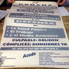 Carteles Políticos: SEVILLA, CARTEL MANIFESTACION POR DOÑANA, ACCIDENTE BOLIDEN, 40X60 CMS. Lote 137488346