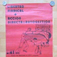 Carteles Políticos: CARTEL CNT LIBERTAD SINDICAL ACCION DIRECTA 1977 43 X 62 CM (APROX). Lote 139061686
