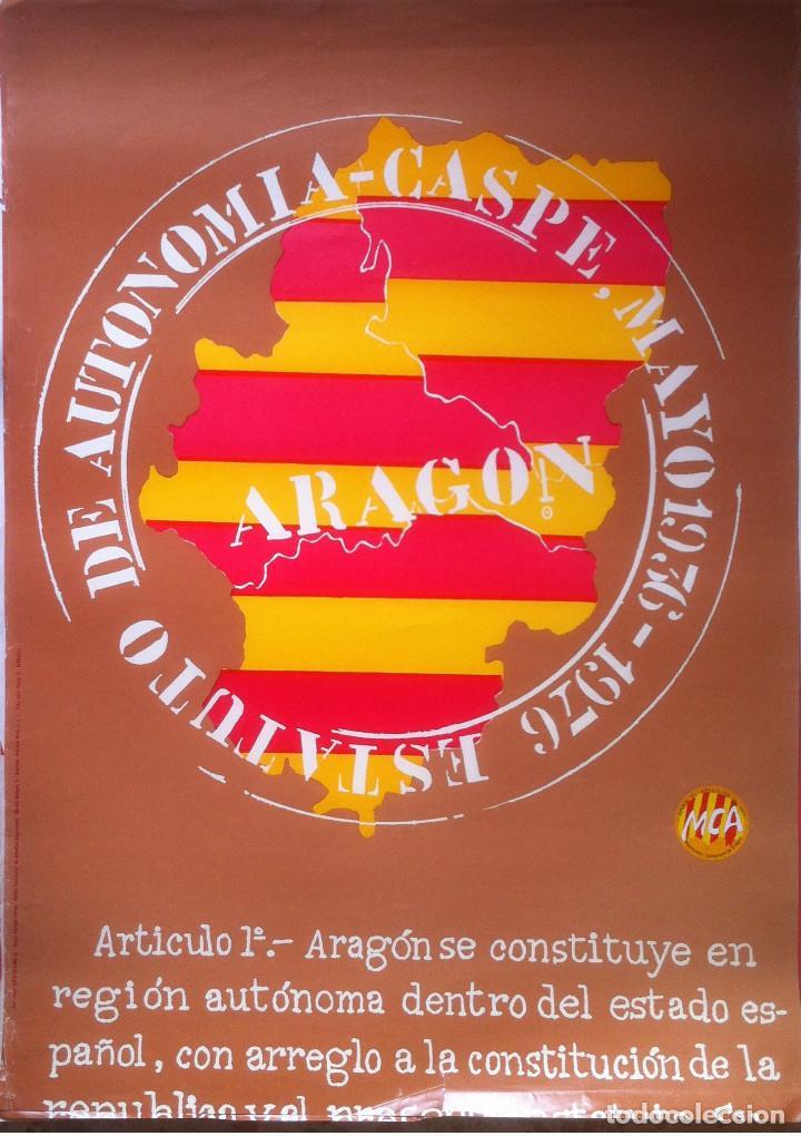 CARTEL. ESTATUTO DE AUTONOMIA - CASPE MAYO 1936-1976 (POSTER) - 1976 ZARAGOZA 42 X 53 (Coleccionismo - Carteles gran Formato - Carteles Políticos)