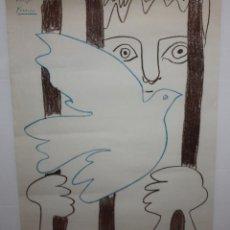 Carteles Políticos: PICASSO-CARTEL-EL PRISIONERO Y LA PALOMA-1959-REALIZADO PARA AMNISTIA INTERNACIONAL.. Lote 140563438