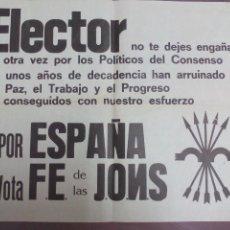 Carteles Políticos: FALANGE CARTEL ELECTORAL. Lote 144531410