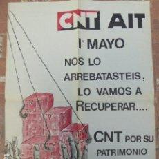 Carteles Políticos: CARTEL CNT / AIT. 1º DE MAYO. 1980. 49 X 70 CM. Lote 145411686