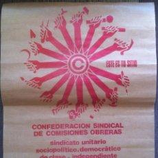 Carteles Políticos: CARTEL DE AFILACIÓN A COMISIONES OBRERAS. ZARAGOZA 1977.. Lote 158043648