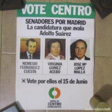 Carteles Políticos: 5 CARTELES IGUALES UCD 1977 SENADORES POR MADRID UNIÓN DE CENTRO DEMOCRÁTICO. Lote 153960908